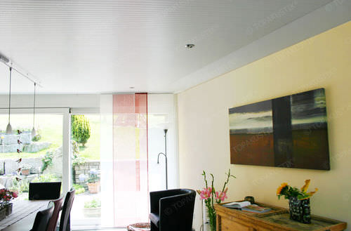 ceiling acoustic panel / wooden / colored / commercial