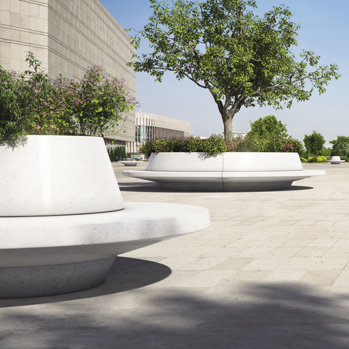 engineered stone planter / round / with integrated bench / contemporary