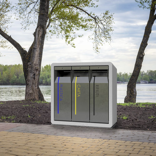 public trash can / floor-standing / stainless steel / engineered stone