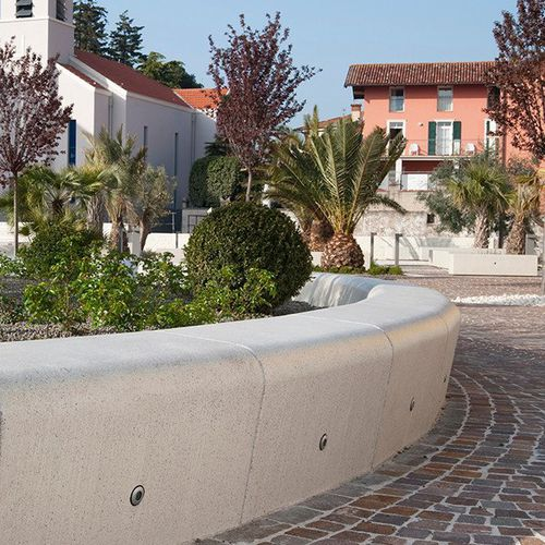 marble planter / natural stone / round / with integrated bench