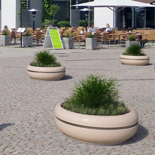 stainless steel planter / marble / natural stone / round