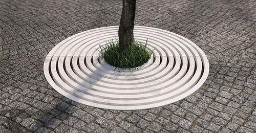 concrete tree grate / round / ultra high performance (UHPC)