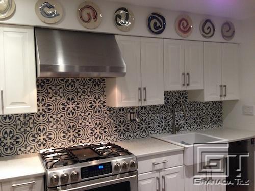 kitchen tile / floor / cement / victorian pattern - cluny-888