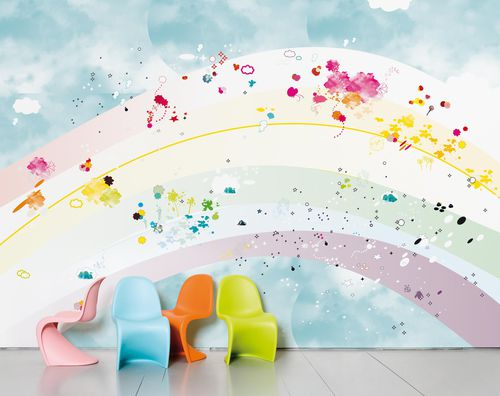 Contemporary wallpaper / sketch / art print / multi-color RAINBOW by Coco Tassel Domestic