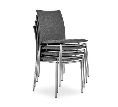 Scandinavian design chair / upholstered / stackable / fabric