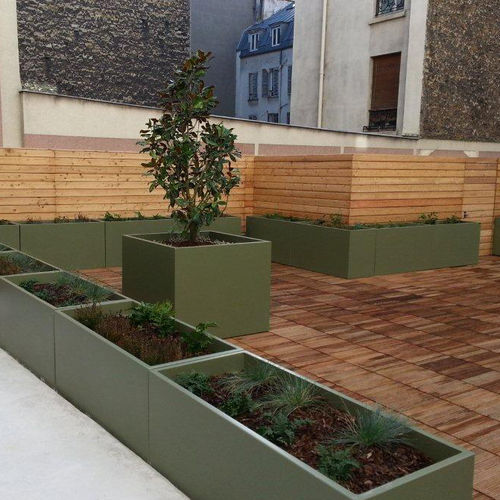 Fiber cement planter / square / rectangular / custom IRG 140.60H80 / ICG 120H100 - IMAGE'IN ATELIER SO GREEN