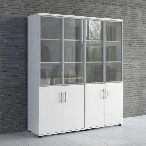 low filing cabinet / tall / wooden / glass