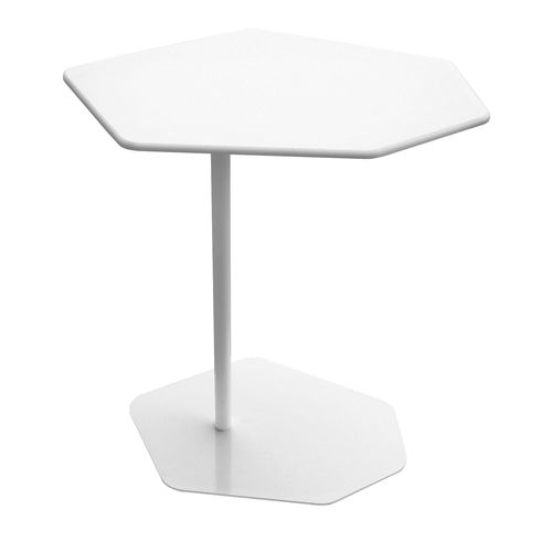 contemporary side table / powder-coated steel / HPL / hexagonal