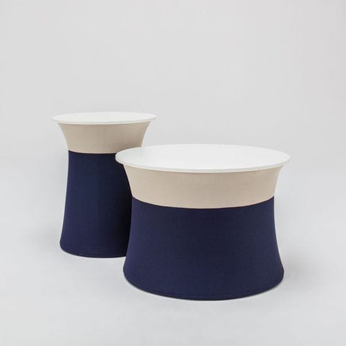 contemporary coffee table / powder-coated steel / fabric / melamine