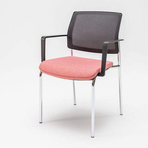 upholstered conference chair / with armrests / stackable / cantilever