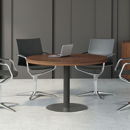 contemporary boardroom table / wood veneer / rectangular / round