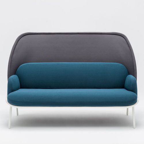contemporary sofa / fabric / powder-coated steel / commercial