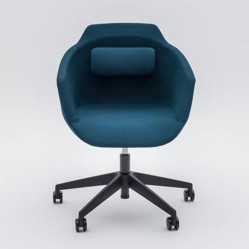 contemporary visitor chair / with armrests / upholstered / on casters