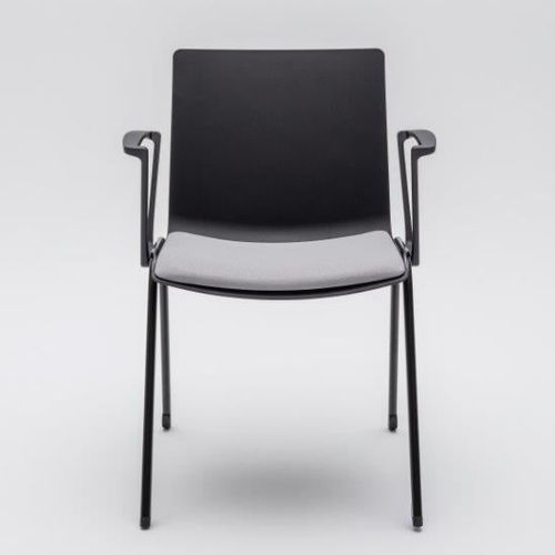 upholstered conference chair / with armrests / stackable / connected