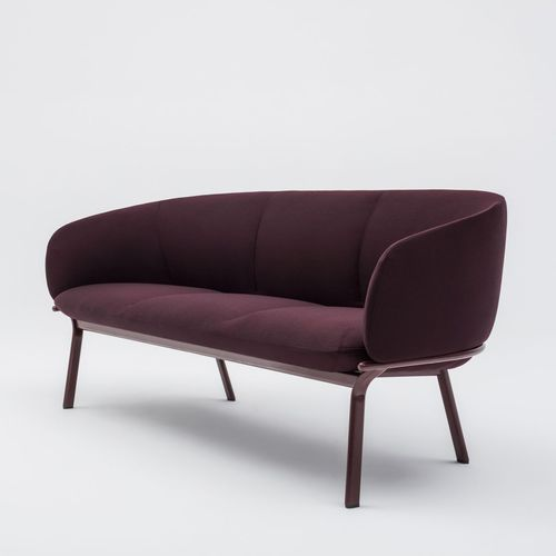 compact sofa / contemporary / fabric / powder-coated steel