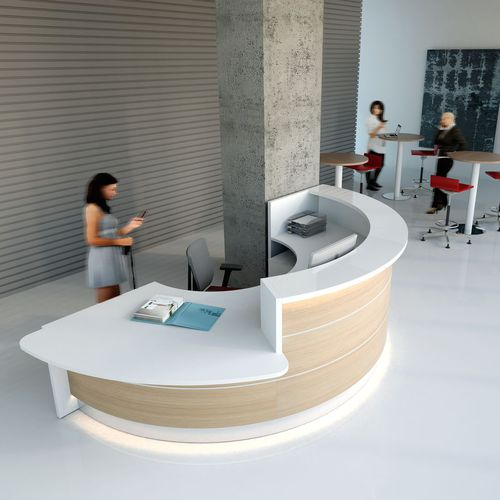 modular reception desk / semicircular / laminate / aluminum
