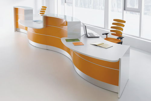 modular reception desk / laminate / aluminum / glass