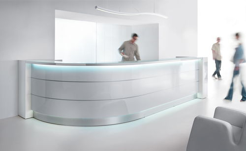 modular reception desk / semicircular / laminate / aluminum