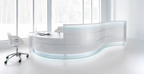 modular reception desk / semicircular / laminate / glass