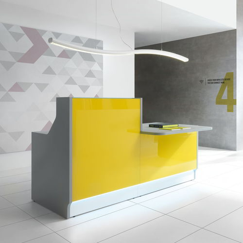 modular reception desk / glass / stainless steel / melamine