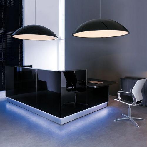 modular reception desk / corner / glass / stainless steel