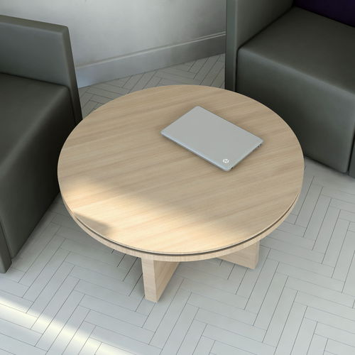 contemporary coffee table / melamine / round / for public buildings
