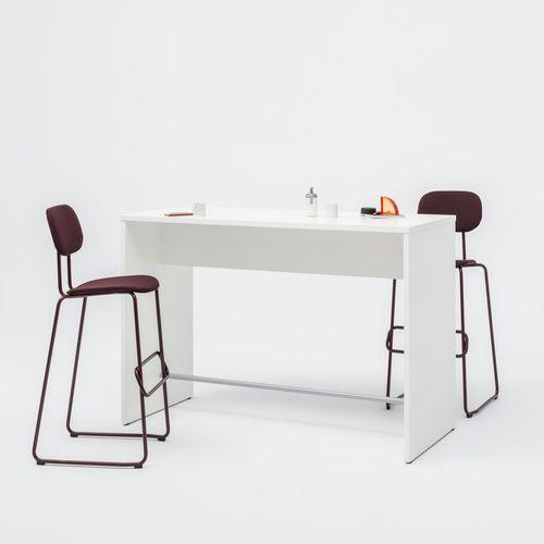 contemporary high bar table / powder-coated steel / melamine / rectangular