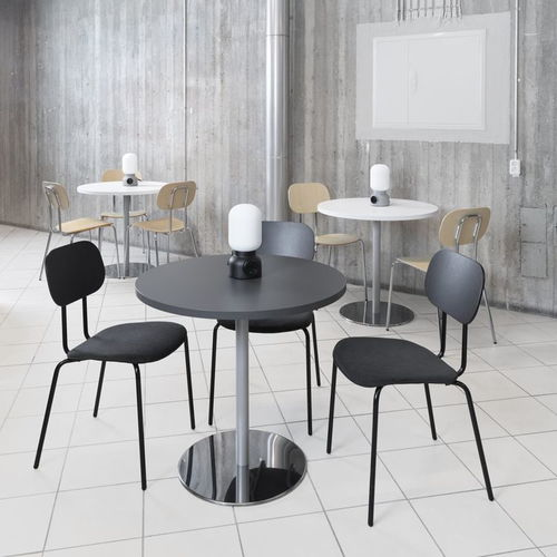 contemporary bistro table / chromed metal / powder-coated steel / melamine