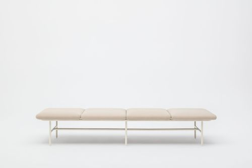modular upholstered bench / contemporary / fabric / powder-coated steel
