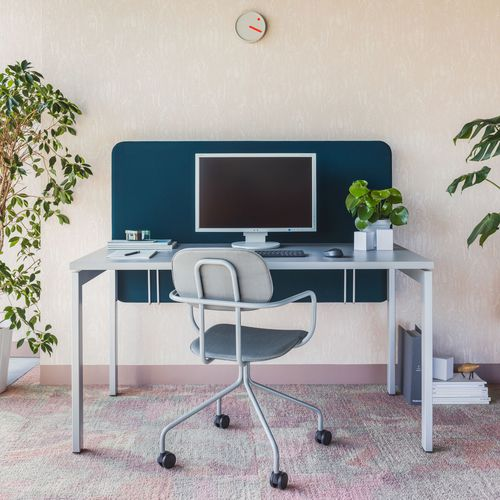 metal office desk / contemporary / commercial / height-adjustable
