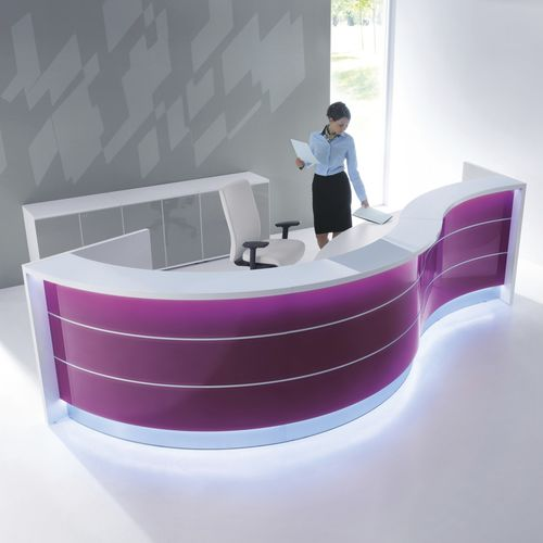 corner reception desk / semicircular / glass / aluminum