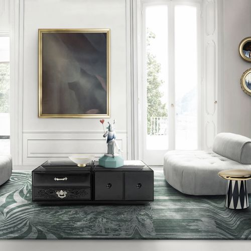 contemporary coffee table / lacquered wood / glass / rectangular