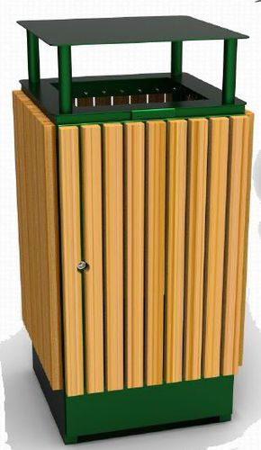 public trash can / steel / wooden / commercial