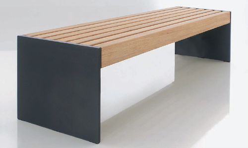 public bench / contemporary / exotic wood / sheet steel