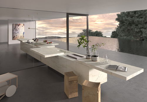 contemporary kitchen / stone / stainless steel / melamine