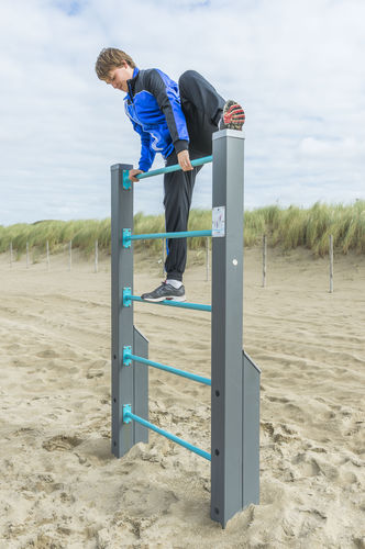 fitness trail ladder / wood / steel