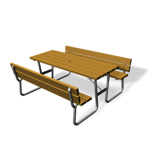 traditional picnic table / wooden / rectangular / for public spaces