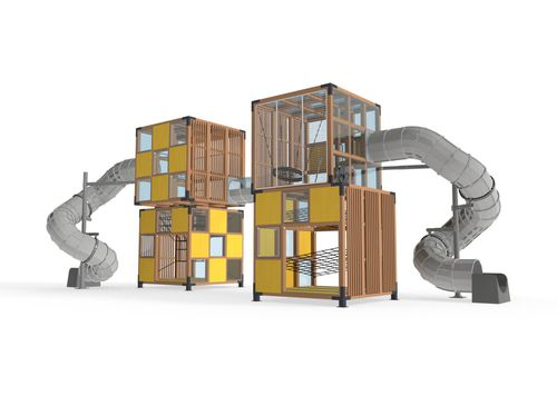 playground play structure / for public buildings / wooden / modular