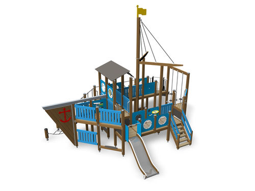 public entity play structure / wooden / HPL / modular