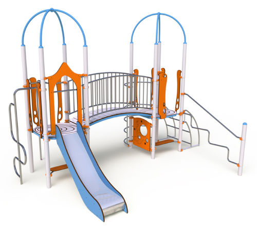 public entity play structure / HPL / stainless steel / modular