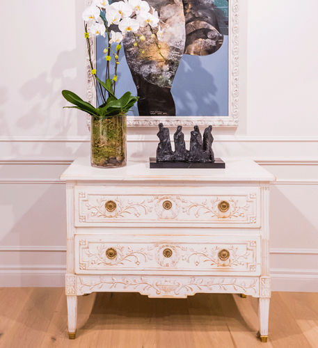 Louis XVI style chest of drawers / lacquered wood / beech / green