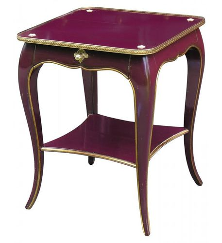 Louis XV style bedside table / lacquered wood / beech / square