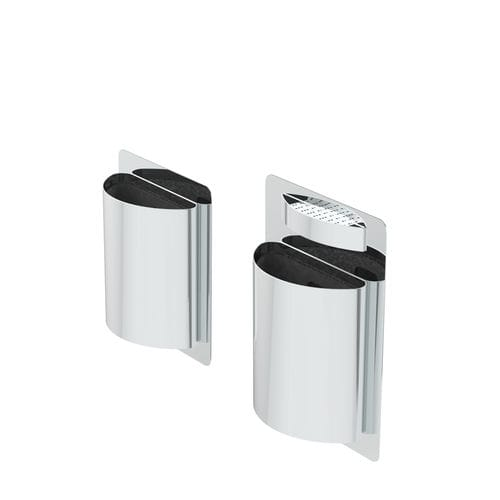 public litter bin / floor-mounted / stainless steel / plastic