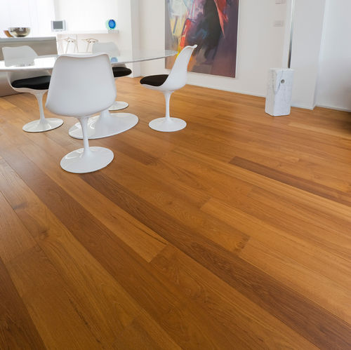 engineered parquet floor / glued / teak / exotic wood