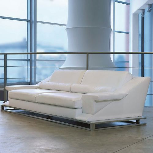 Contemporary sofa / leather / steel / 2-seater GRAND BLANC Mazzoli - Italian Manufacturers
