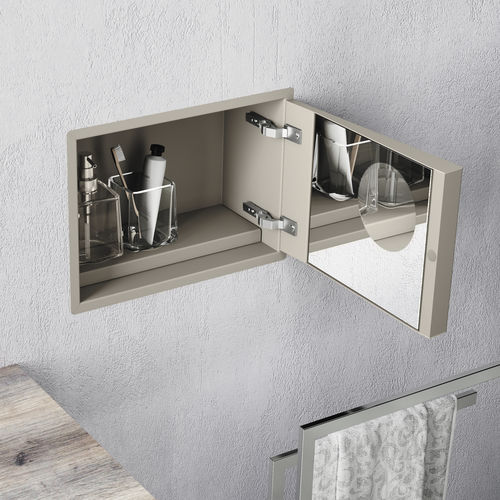 contemporary bathroom cabinet / stainless steel / wall-mounted / high