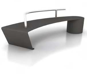 public bench / contemporary / sheet steel / stainless steel