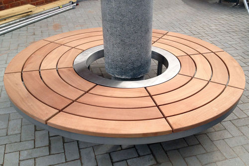 wooden tree guard / stainless steel / with integrated public bench