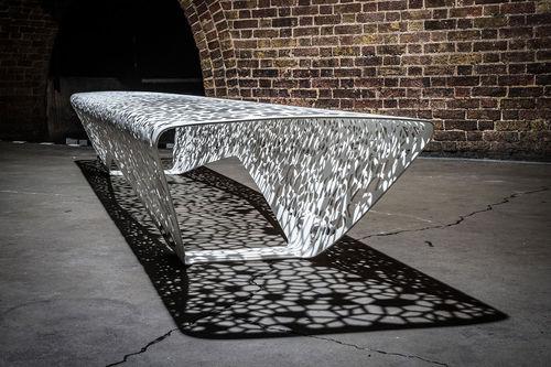 public bench / organic design / galvanized steel / for airports