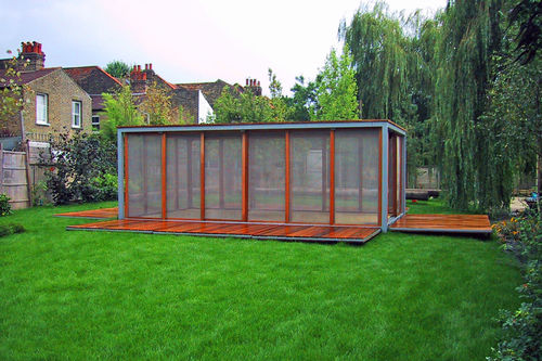 self-supporting conservatory / stainless steel / wooden